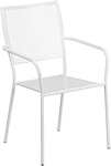 Flash Furniture White Indoor-Outdoor Steel Patio Arm Chair with Square Back