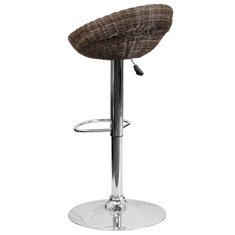 Strange Flash Furniture Contemporary Wicker Rounded Back Adjustable Height Barstool With Chrome Base Squirreltailoven Fun Painted Chair Ideas Images Squirreltailovenorg