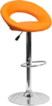Flash Furniture Contemporary Orange Vinyl Rounded Back Adjustable Height Barstool with Chrome Base