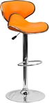Flash Furniture Contemporary Cozy Mid-Back Orange Vinyl Adjustable Height Barstool with Chrome Base