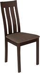 Flash Furniture Milton Espresso Finish Wood Dining Chair with Vertical Slat Back and Golden Honey Brown Fabric Seat