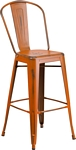 Flash Furniture 30'' High Distressed Orange Metal Indoor-Outdoor Barstool with Back