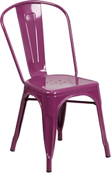 Flash Furniture Purple Metal Indoor-Outdoor Stackable Chair