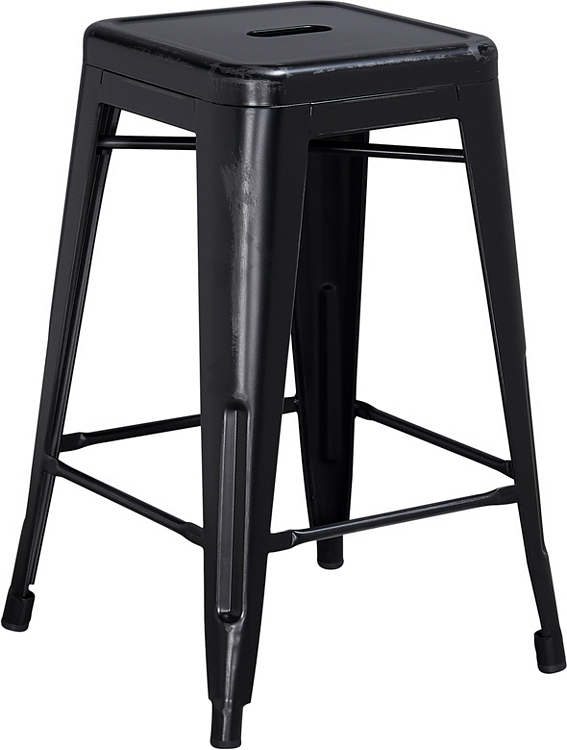Fantastic Flash Furniture 24 High Backless Distressed Black Metal Indoor Outdoor Counter Height Stool Squirreltailoven Fun Painted Chair Ideas Images Squirreltailovenorg