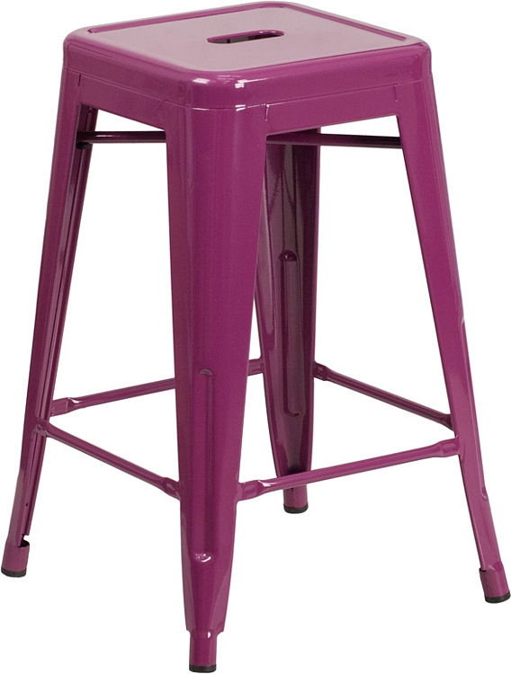 Flash Furniture 24 High Backless Purple Indoor Outdoor Counter
