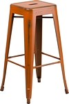 Flash Furniture 30'' High Backless Distressed Orange Metal Indoor-Outdoor Barstool