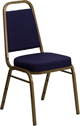 Flash Furniture HERCULES Series Trapezoidal Back Stacking Banquet Chair in Navy Patterned Fabric - Gold Frame