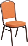 Flash Furniture HERCULES Series Crown Back Stacking Banquet Chair in Orange Fabric - Copper Vein Frame