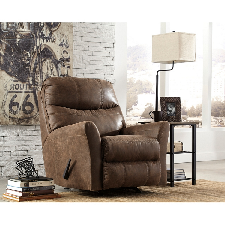 Flash Furniture Signature Design By Ashley Tullos Rocker Recliner In Coffee Faux Leather Larger Photo