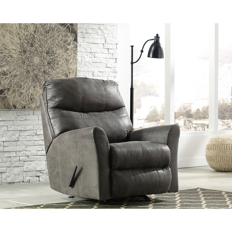 Flash Furniture Signature Design By Ashley Tullos Rocker Recliner In Slate Faux Leather