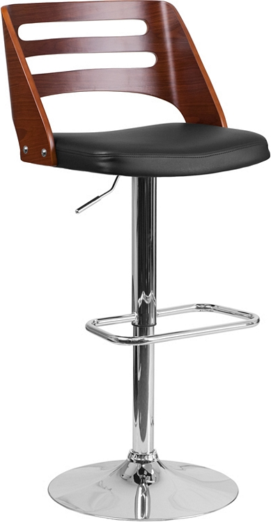 Flash Furniture Walnut Bentwood Adjustable Height Barstool With Cutout Back  And Black Vinyl Seat
