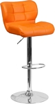 Flash Furniture Contemporary Tufted Orange Vinyl Adjustable Height Barstool with Chrome Base