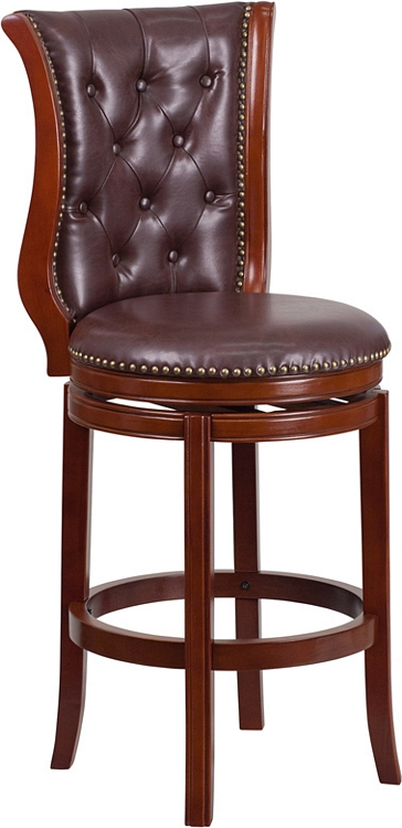 Fabulous Flash Furniture 30 High Dark Chestnut Wood Barstool With Hepatic Leather Swivel Seat Unemploymentrelief Wooden Chair Designs For Living Room Unemploymentrelieforg