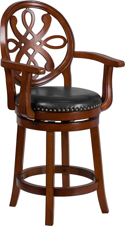 Flash Furniture 26 High Brandy Wood Counter Height Stool With Arms And Black Leather Swivel Seat