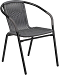 Flash Furniture Gray Rattan Indoor-Outdoor Restaurant Stack Chair