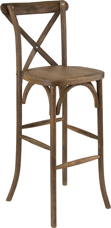 Flash Furniture Hercules Series Dark Antique Wood Cross Back Barstool