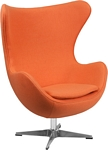 Flash Furniture Orange Wool Fabric Egg Chair with Tilt-Lock Mechanism