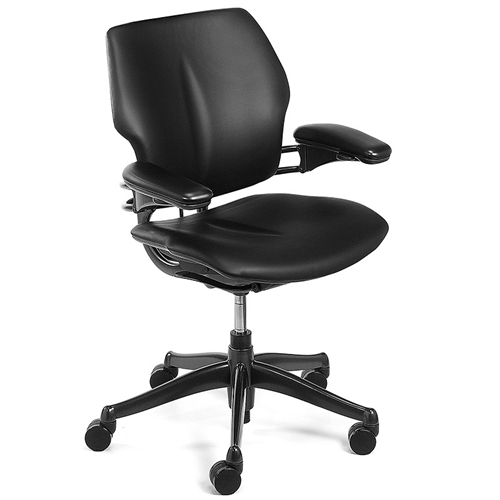 Genial Humanscale Freedom Chair Fully Adjustable Model In Black Leather