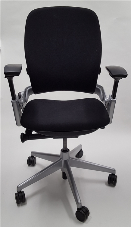 Steelcase Leap Chair V2 In Black Fabric Titanium Base Refurbished