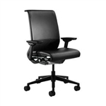 Steelcase Think Chair Fully Adjustable Model In Black Leather Refurbished