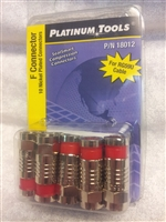 Platinum Tools RG59 F connector 10 PACK Male compression RED Banded