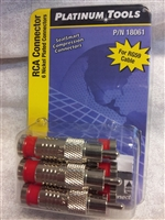 Platinum Tools RCA connector pack of 6 Male compression RED Banded RG59