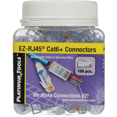 Platinum Tools EZ-RJ45® CAT6 Connectors, Jar of 100.