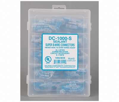 Dolphin Super B Connectors (DC-1000-S) (10 Bags of 100, Wet, Blue, GEL Filled)