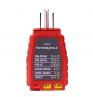T301C, t302C,Platinum Tools, GFCI, Socket Tester, Troubleshoot, 110-125VAC, electric, sockets, faults, cable tools, satellite tools, tech tools, tec, ripley, cable technician, custom tool supply, magnepull, tecra, suunto, cctv, phone, cable installation,