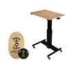 Rocelco Sit-to-Stand Adjustable Desk & Indo Board Balance Bundle