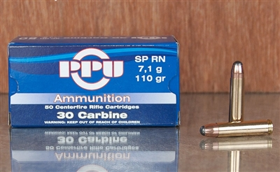 30 Carbine 110gr SP PPU - #100 rounds