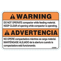 CAUTION DO NOT OPERATE COMPACTOR