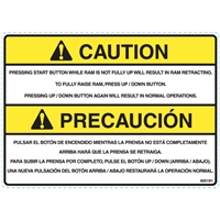 DECAL CAUTION PRESSING START BUTTON