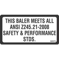 ANSI SAFETY DECAL