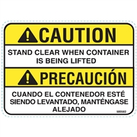 DECAL CAUTION STAND CLEAR WHEN CONTAINER IS BEING LIFTED