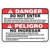 DECAL DANGER DO NOT ENTER AREA INSIDE OF THE COMPACTOR BEHIND THE RAM