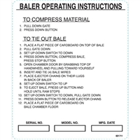 DECAL BALER OPERATING INSTRUCTIONS