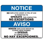 DECAL NO EMPLOYEE UNDER 18 IS PERMITTED TO OPERATE THIS COMPACTOR