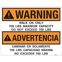 DECAL WARNING WALK ON ONLY, 700 LBS MAXIMUM CAPACITY
