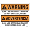 DECAL WARNING 8000 LBS MAXIMUM CAPACITY