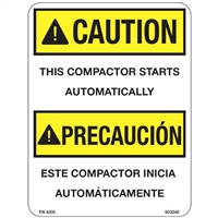 DECAL CAUTION THIS COMPACTOR STARTS AUTOMATICALLY