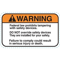 DECAL WARNING FEDERAL LAW PROHIBITS TAMPERING WITH SAFETY DEVICES