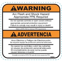 DECAL WARNING FLASH AND SHOCK HAZARD, APPROPRIATE PPE REQUIRED