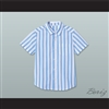 Good Burger Light Blue/ White Striped Polo Shirt