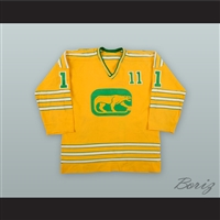 1973-74 WHA Brian Coates 11 Chicago Cougars Yellow Hockey Jersey 00ab6fb93