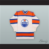 1973-74 WHA Ross Perkins 9 Edmonton Oilers White Hockey Jersey 569ed5470