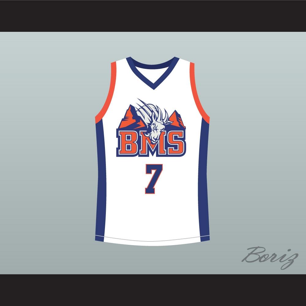 Alex Moran 7 Blue Mountain State Goats Basketball Jersey Stitch Sewn