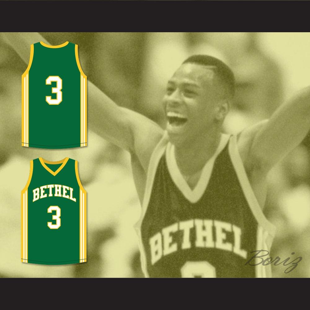 3c426b5041d Allen Iverson 3 Bethel High School Bruins Green Basketball Jersey