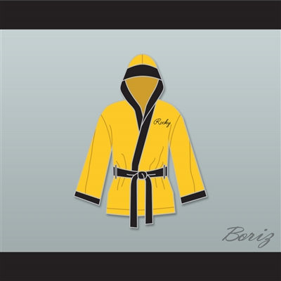 Rocky Balboa Italian Stallion Yellow Satin Half Boxing Robe with Hood