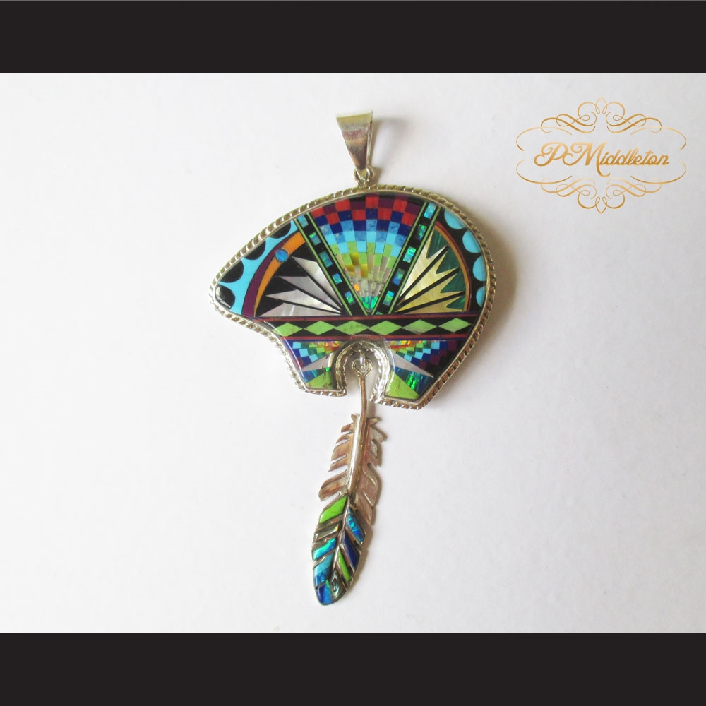 P middleton bear feather pendant sterling silver 925 micro inlays aloadofball Gallery